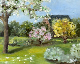 Spring in a garden, original oil painting