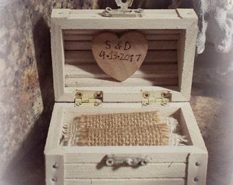 Beach Wedding Treasure Chest Wood Ring Bearer Box With White Starfish and Pearls - For Beach Theme Weddings - Handmade