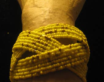 Soft White & Golden Wire Braided  Beasded Bracelet, 2 Inches Wide