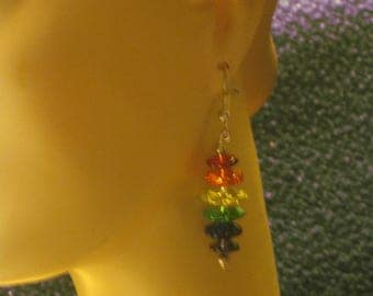 MultiColored Crystal Earrings, French Wires