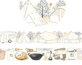 1 Roll of Limited Edition Washi Masking Tape- Camping