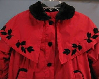 Vintage 1980's Rothschild Red Coat Little Girl Party Coat Winter Victorian Christmas