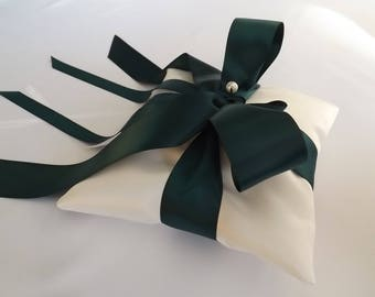 Emerald Green Ribbon - Forest Green Ribbon, Wedding Ring Pillow Gift - Ring Bearer Pillows - Ivories or Whites - Duchess Satin