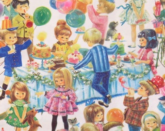 Vintage Gibson Juvenile Gift Wrap - Wrapping Paper - Mid-Century BIRTHDAY Party - BOYS and GIRLS - 1960s