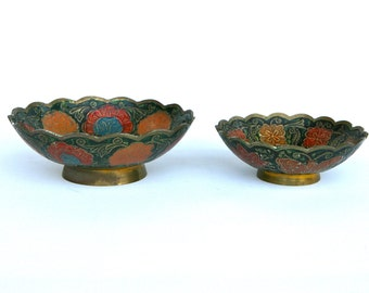 Beautiful pair of decorated brass bowls