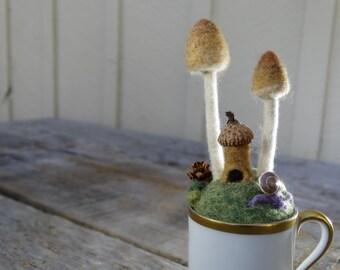 felted fairy garden in a teacup