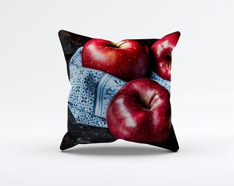 Apples Basket Pillow Cover 15 x 15 inch, Red cushion cover, Decorative Pillow Cover, Home decor