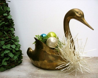 Vintage Brass Swan Planter Large Size Mid Century Modern Bird Figure Statue Air Plant Holder
