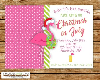 Christmas in July Invitation | Christmas Party | 4th of July | Flamingo Invitation | Christmas in July Invite