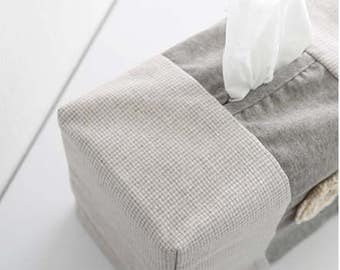 Free shipping Cozymom Korea Wholesale Handmade Cotton Tissue Box Cover ,Corsage Case Cover-Beige color