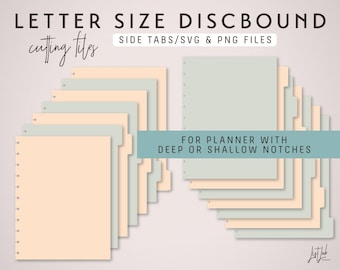 Letter Size DISCBOUND Planner Divider Pages Die Cutting Files SVG & PNG