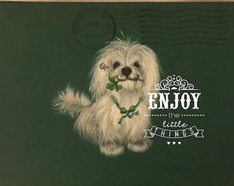 "vintage St patrick cute dog altered art 3 1/2 by 5"" original"
