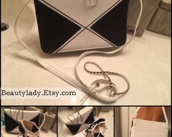 Vintage Black & White Color Block Handbag /Black and White Party Of Two, Vintage Soul Block Party Handbag