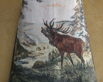 Tapestry skirt Troating Deer, A-line skirt, cotton and wool tweed skirt, fully lined, brown green gray, size Medium