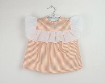Girl Top -  Orange stripe top with white swiss dots ruffle - Available in more colors