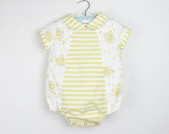 Baby Girl Romper - Yellow floral and stripes short sleeve romper with rounded collar