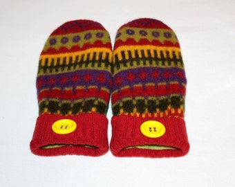 Wool Felted Mittens - Upcycled Wool Mittens  - Sweater Mittens - Red Mittens - Women and Teens Size Medium