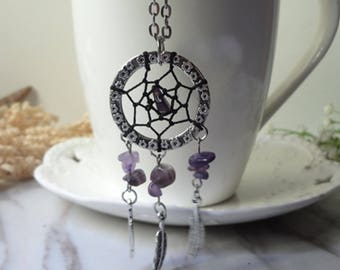 Purple amethyst plumage for dream net leaf necklace  0368