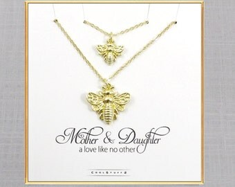 Mother Daughter Necklace Set, Bee Necklace, Mother Daughter Jewelry, Gift for Mother Birthday, Gift for Daughter, Gifts for Mom