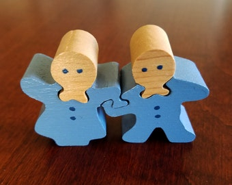 Wood Carved Puzzle - Hand Painted Boy and Girl Holding Hands Puzzle - Nursery Decor - Baby Shower Package Topper - Jack and Jill Wood Puzzle