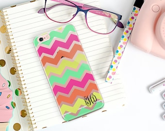 Monogrammed clear iphone 8 case, Chevron clear Iphone 6 plus case with design, Gifts ideas for teen granddaughter, Cute Iphone case (9879)