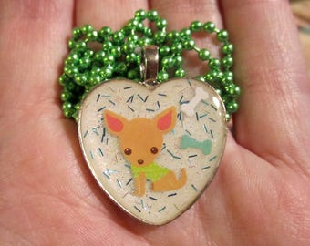 Heart Chihuahua Necklace-Chihuahua Dog Jewelry-Handmade Resin Pendant Jewelry