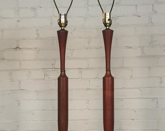 Pair Walnut Mid-Century Modern Table Lamps - SHIPPING NOT INCLUDED