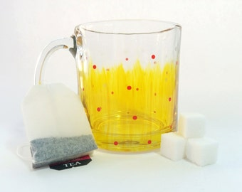 Hand Painted Glass Mug - Mellow Yellow - Translucent Yellow Background with Red and Frosted Dots on a Clear Glass Mug