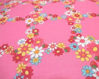 Japanese Fabric YUWA Flower Trellis Pink Fat Quarter