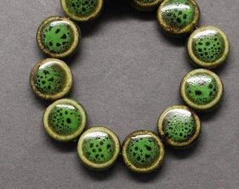 Porcelain Beads Glazed Porcelain Beads Green Beads Flat Round Beads Flat Beads Glazed Beads Coin Beads 9mm Beads Wholesale Beads 10 pcs