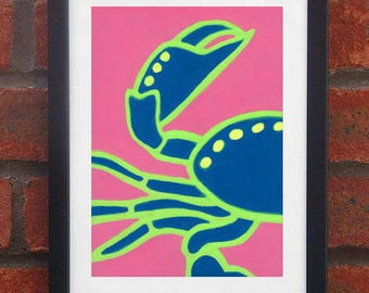 Crab - A5 original oil pastel drawing