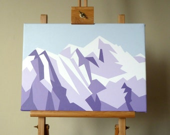 Mont Blanc Mountain painting Original geometric mountain landscape Acrylic on Canvas 14x10 inch Chamonix France art Ski snowboard decor gift
