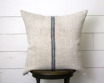 Authentic French Grain Sack Pillow . Antique European Grainsack Pillow . Farmhouse . Rustic Cottage . Blue White Ticking. Fixer Upper Decor