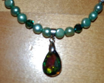 Mint Green Freshwater Pearl Necklace with Mint and Emerald Swarovski Beads, Greenish Rainbow Pendant, and Silver Rose Spacers
