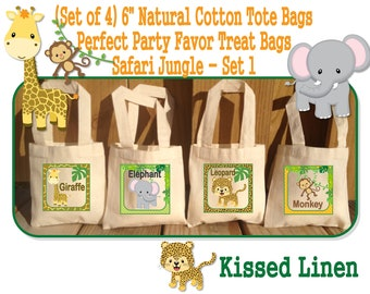 "Jungle Safari Birthday Party Treat Favor Gift Bags Mini 6""x6"" Natural Cotton Totes Giraffe Elephant Leopard Monkey Tiger Hippo Zebra Lion"