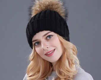 Real mink fur ball pompoms winter hat BLACK2