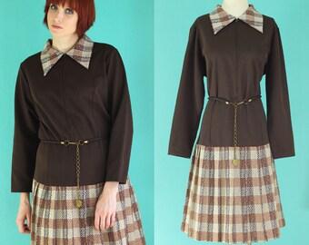 Vintage 60s Mod Dress - Brown Plaid Dress - Long Sleeve Dress - Drop Waist Dress - Short Dress - Belted Dress - Plus Size Dress - Size XL