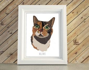 Cat Lover Gift, Pet Portrait Illustration Bust Caricature, Memorial Remembrance Artwork, Cat Christmas Gift Keepsake
