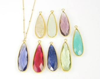 Long Gemstone Necklace, Teardrop Gold Framed Stone Simple 14KT Gold Fill Chain, Bezel Gemstone Pendant Layering Statement Necklace |DRW2