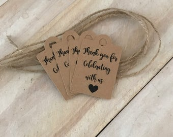 50 x  Kraft Paper Thank you for Celebrating with us Tags