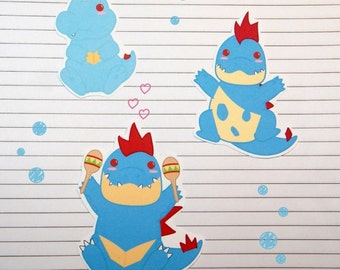 Chibi Totodile/Croconaw/Feraligatr Stickers and Magnets