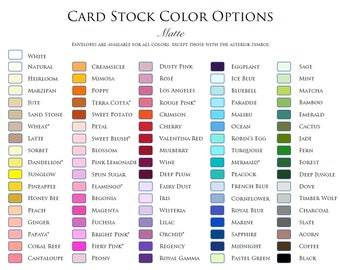 CARD STOCK Color Palette by White Gown Wedding Invitations