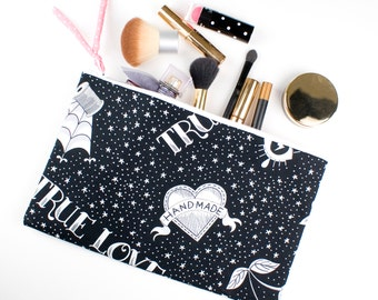 Large Pencil Case Make Up Bag Cotton Zipper Pouch Handmade Lovers