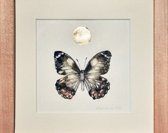 Framed Original Artwork, Detailed Ink Painting of a Butterfly with Gold Leaf and Metallic Pigment, Unique and Genuine Art, Collectible