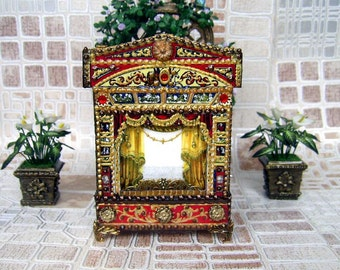 Puppet theater for Dollhouse. Paper theater. Dolls house miniature toy theatre. Handcrafted miniature. For doll House. 1:12 Scale