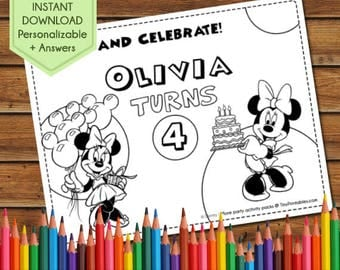 Minnie Mouse Party Favors, Minnie Coloring Pages, Minnie and Mickey Coloring, Minnie Party Games, Birthday Favors, Party Activity Book