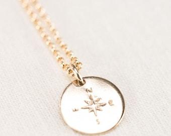 20% OFF SPRING SALE Hokule'a necklace - gold compass necklace, gold necklace, charm necklace, gold charm necklace, boho necklace, nautical j