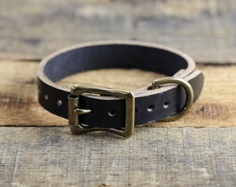 Horween Leather Dog Collar // Black Leather Dog Collar // Antique Brass Hardware