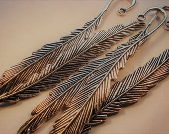 117mm Antique Silver Feather Bookmark T62