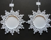 Slightly Imperfect set of 2 Snowflake Photo Ornaments.   Crochet Snowflakes.  Made in the USA.